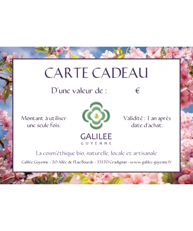 Carte Cadeau Galilée Guyenne d'un montant de 30 €uros à offrir