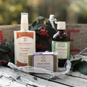 Coffret Spray, huile de massage et savon parfumés tonique