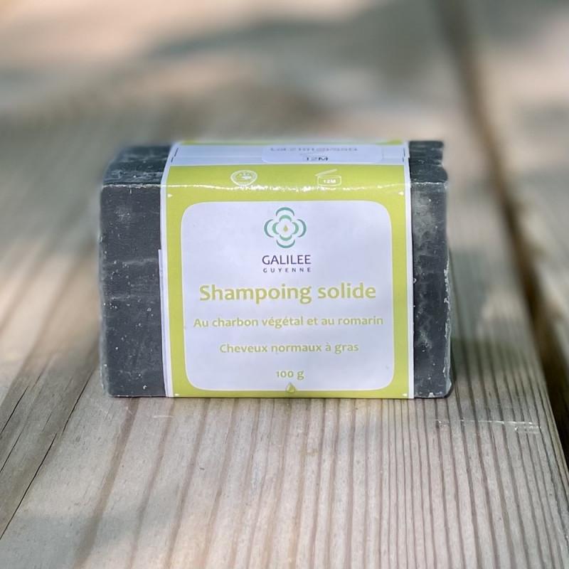 Shampoing solide cheveux normaux à gras au charbon et au romarin-100gr