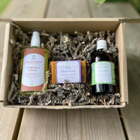 Coffret  spray , huile de massage et savon parfumés  Orange Cannelle